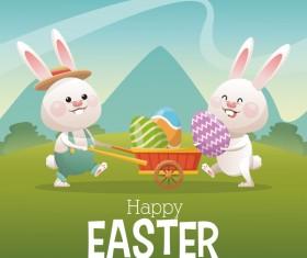 Happy easter card with cartoon bunny vector 12