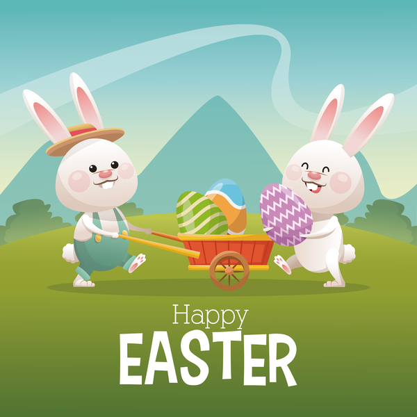 Happy easter card with cartoon bunny vector 12 Vector Animal – Happy Easter Card
