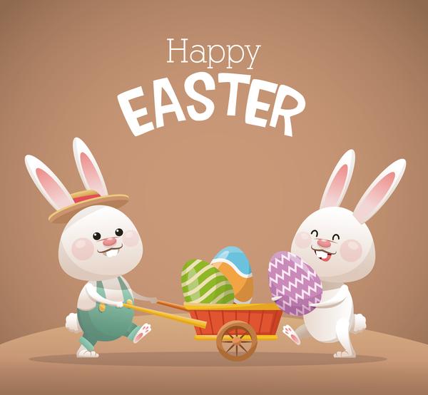 Happy easter card with cartoon bunny vector 13