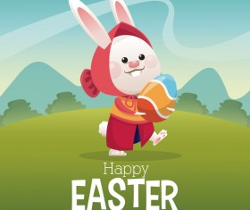 Happy easter card with cartoon bunny vector 14