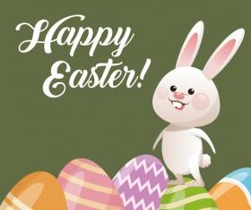 Happy easter card with cartoon bunny vector 15