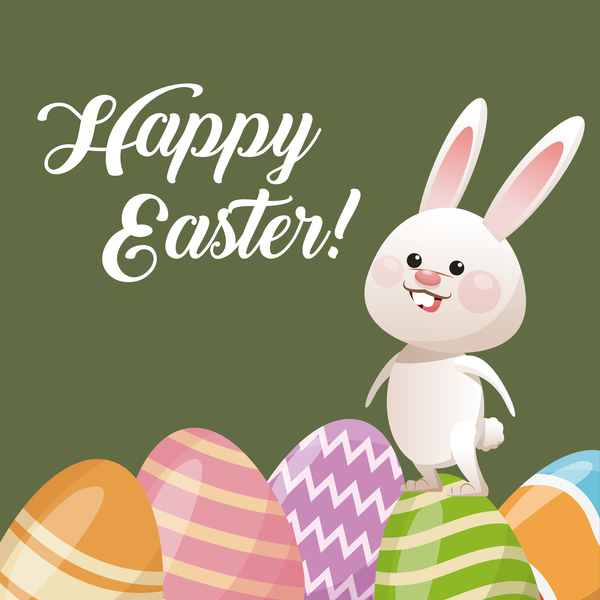 happy easter card with cartoon bunny vector 15