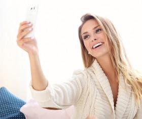 Happy woman selfie Stock Photo 02