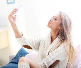 Happy woman selfie Stock Photo 04