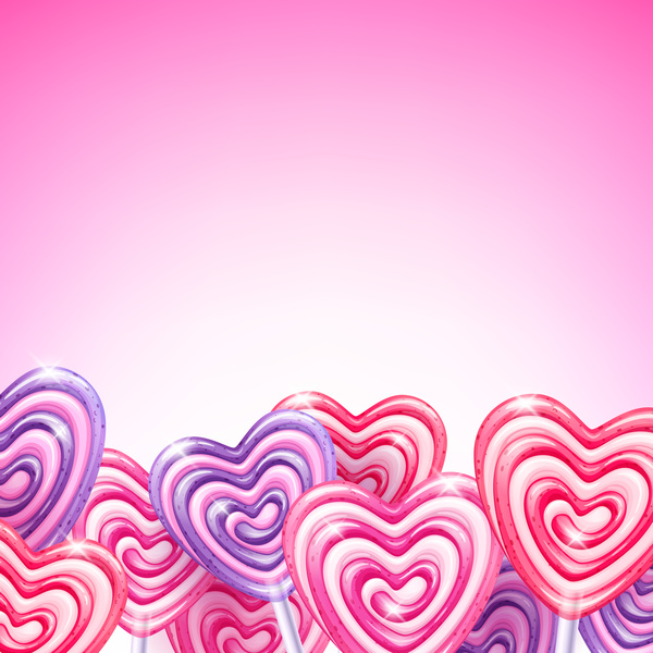 heart candy cane with pink background vectors 01 vector