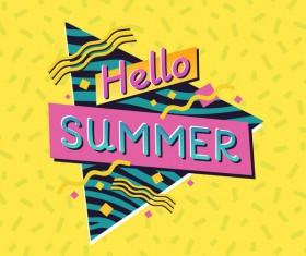 Hellow summer label vector