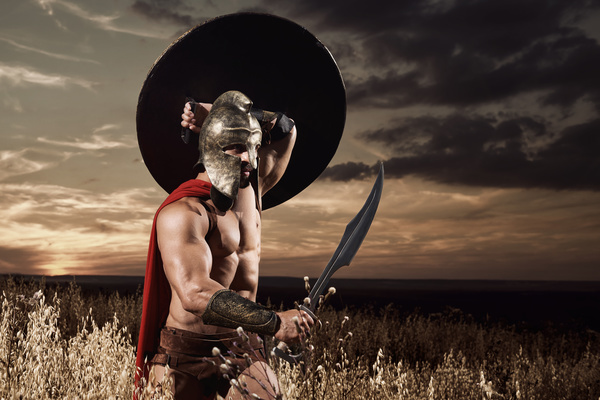 Hold The Shield And Dagger Of Spartan Warrior HD Picture