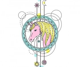 Horse with decorative illustration vector