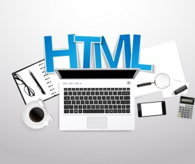 Html with workplace template vector 02