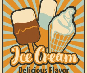 Ice cream poster vintage template vector 02