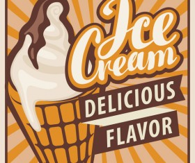 Ice cream poster vintage template vector 03