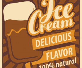 Ice cream poster vintage template vector 04