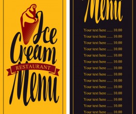 Ice cream retro style menu vector 03