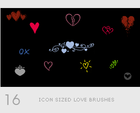 Icon love photoshop brushes set