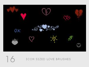 Icon love photoshop brushes set