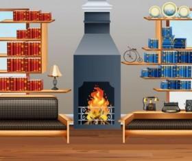 Indoor decorations design vectors set 04