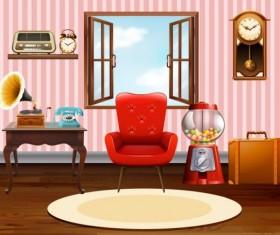 Indoor decorations design vectors set 08