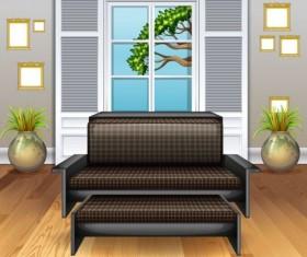 Indoor decorations design vectors set 13