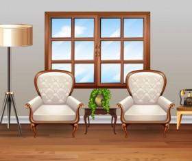 Indoor decorations design vectors set 14