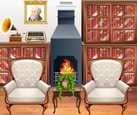 Indoor decorations design vectors set 16