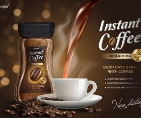 Instant coffee poster template vector 01