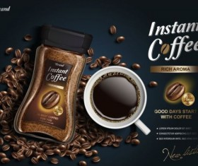 Instant coffee poster template vector 02