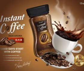 Instant coffee poster template vector 03
