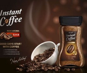 Instant coffee poster template vector 04