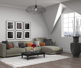 Interior with sofa and chair Stock Photo 08
