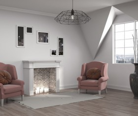 Interior with sofa and chair Stock Photo 09