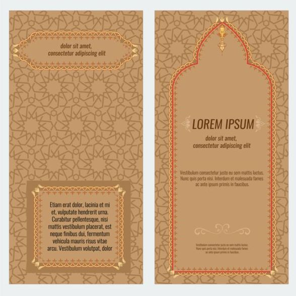 Islamic style brochure and flyer cover template vector 01 for Islamic brochure design