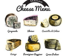 Italian cheese menu vector 01