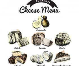 Italian cheese menu vector 02