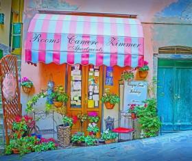 Italian town street view Stock Photo