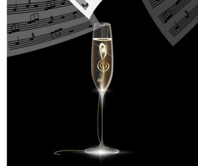 Jewelry in wine glass with music note vector