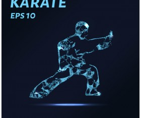 Karate with points lines 3D vector