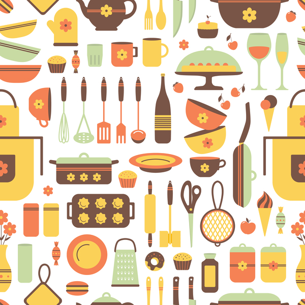 Kitchen flat pattern background vector vector food free for Kitchen design vector