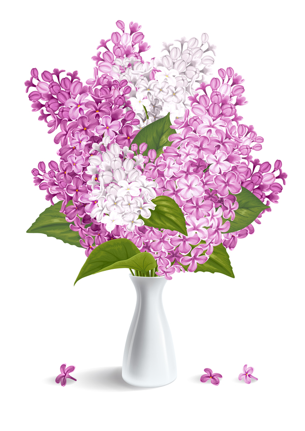 Lilac With White Vase Illustration Vector Free Download