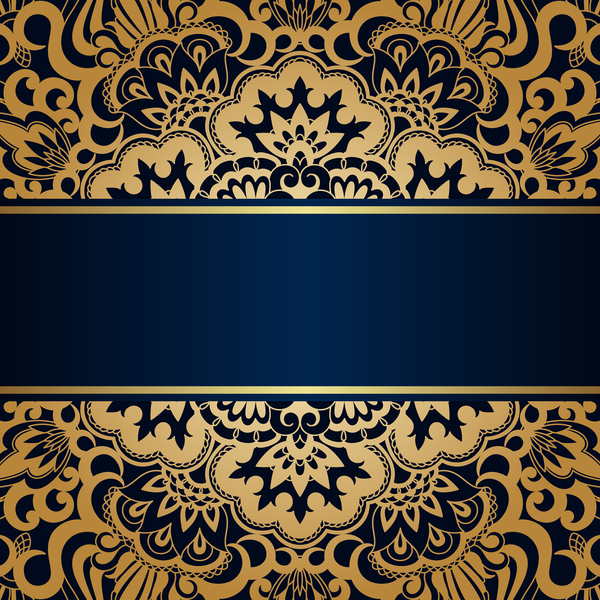 Luxury Blue Background With Ornament Gold Vector 01