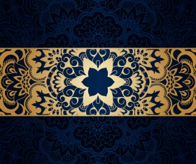 Luxury blue background with ornament gold vector 02