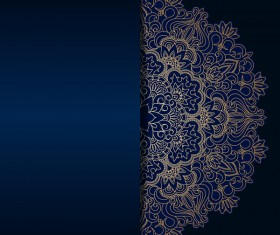 Luxury blue background with ornament gold vector 03