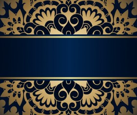 Luxury blue background with ornament gold vector 04