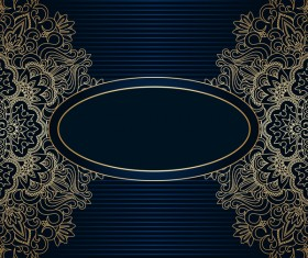 Luxury blue background with ornament gold vector 05