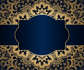 Luxury blue background with ornament gold vector 06