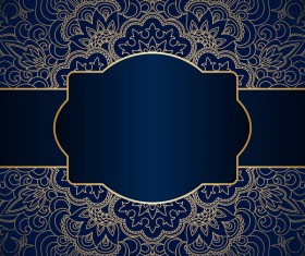 Luxury blue background with ornament gold vector 07