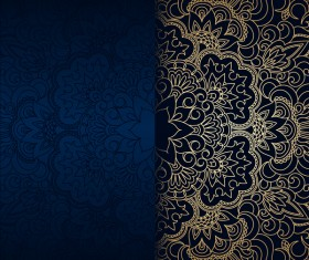 Luxury blue background with ornament gold vector 08