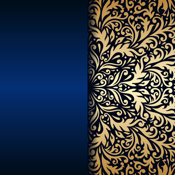 Luxury Blue Background With Ornament Gold Vector 09