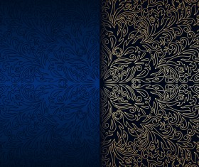 Luxury blue background with ornament gold vector 10