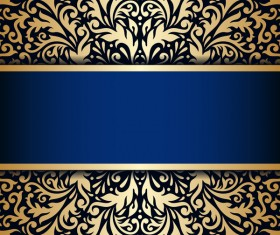 Luxury blue background with ornament gold vector 11