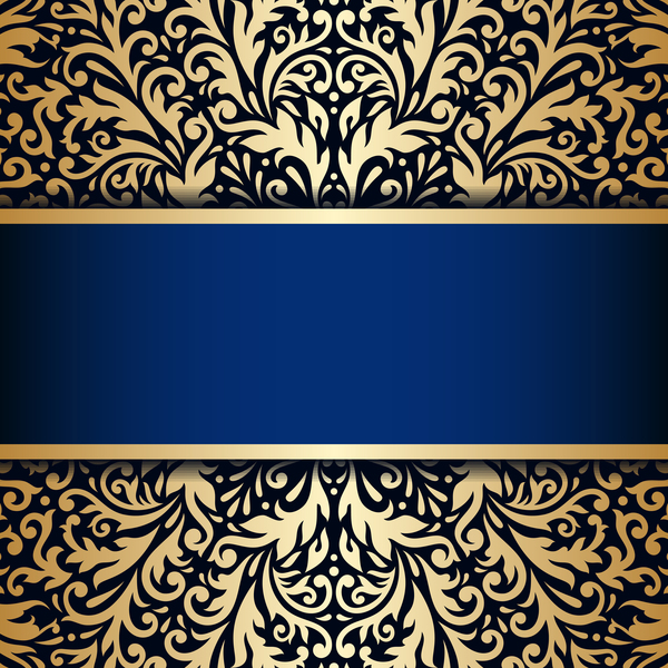 Luxury blue background with ornament gold vector 11 ...